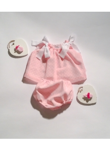 Completo bimba top e coulotte in chifon rosa a pois bianchi - shop online