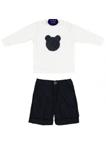 Completo bambino t-shirt jersey bianco con orsetto in tartan navy/verde + pantalone in flanella navy shop online